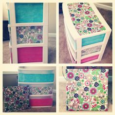 DIY Bulletin board and storage drawers to spice up your dorm room/ bedroom! - using permanent craft glue sticks glue fabric cut to size on the inside of the drawers with right side facing out to show through translucent drawers. My New Room, My Room, Layout Design, Diy Storage, Storage Drawers, Storage Boxes, Table Storage, Do It Yourself Furniture, Craft Rooms