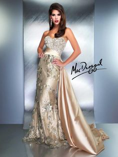 Mac Duggal Couture cream wedding gown with train