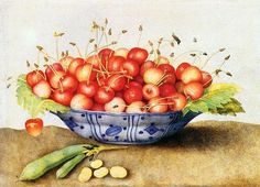 Chinese Porcelain Plate with Cherries ( circa first half of 17th century). Oil on canvas by Giovanna Garzoni (1600–1670).  Web Gallery of Art:  Wikimedia.