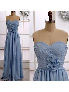 Pretty Light Sky Blue Chiffon Ruffles Sweetheart Floor-length Bridesmaid Dresses…