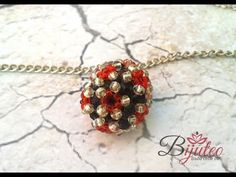 Embelished beaded ball with crystals - tutorial