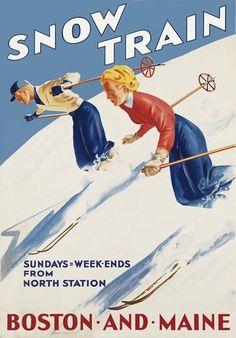 Ta43 Vintage Snow Train Boston-Maine Railways Travel Poster Re-Print A2/A3/A4
