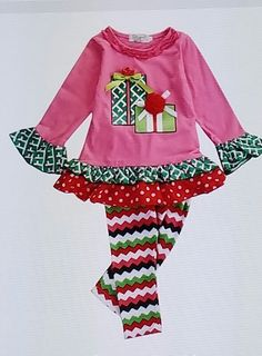 Children's Christmas Present with Ruffle set #Holiday