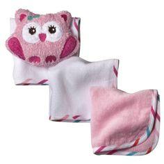 Circo Newborn Girls 3 Pack Wash Cloth and Owl Scrubbie - Pink
