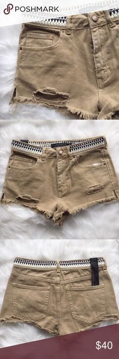 Embroidered Tan Denim Shorts •Item: Erin Wasson Denim Shorts •Size: 27 •Details: 100% Cotton // Beautifully designed denim shorts by P.S. Erin Wasson // embroidered at waist // side slits and deconstructed design // these are a must have for summer-- pair them with a simple solid top and you're good to go!  •Posh rules only // no PayPal •Follow me on Instagram!!  @ariannehilton PacSun Shorts Jean Shorts