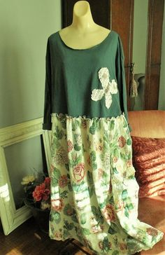 Upstyled Decorated/Altered Dress/Green with Roses/Plus by SheerFab