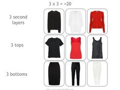 3 x 3 = >20; A Travel Capsule Wardrobe in Black, White and Red
