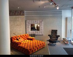 Modern Chesterfield Sofa by BRETZ. Orange terracotta velvet upholstery. Made in Germany. Designer furniture in Sydney, Australia - Flagship BRETZ store