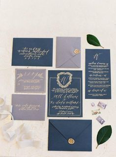 Such an elegant invitation suite. Love the slate blue and stone grey color combo. Design: Written Word Calligraphy