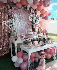 It's essential to have a lively birthday party when someone in your family has a birthday. It's a very happy day for relatives and friends to get together and celebrate someone's birthday. The decoration of birthday party is very important. Butterfly Birthday Party, Butterfly Baby Shower, Fairy Birthday Party, Garden Birthday, Birthday Party Decorations, Butterfly Party Decorations, Party Garden, Garden Parties, Baby Girl Shower Themes