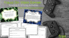 Learning about video games in the classroom can be a way to engage students in reading and writing activities. Free resources from The Curriculum Corner. Writing A Persuasive Essay, Editing Writing, Writing A Book, Video Games List, Video Game News, Mobile Game Development, First Video Game, Research Skills, Book Design Layout