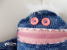 Cuddle Monster WILD BLUE THING zipper mouth by MostlyMonstersCV, $27.95