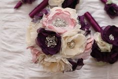 Plum and ivory, Fabric flower Wedding Bouquet, with brooches