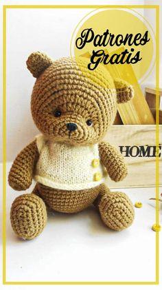 Lindo Oso de peluche amigurumi patrón gratis Crochet Teddy Bear Pattern, Knitted Teddy Bear, Crochet Patterns Amigurumi, Crochet Motif, Amigurumi Doll, Crochet Dolls, Amigurumi Free, Free Crochet, Crochet Fairy