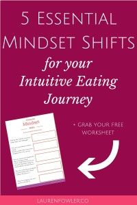 Intuitive Eating: 5 Essential Mindset Shifts  Dieting or controlling your food intake hasn't worked yet, so why not try something new? Give Intuitive Eating a try to transform your mindsets around food and eating.  Here are 5 shifts to make + a free worksheet to fill out to guide you.