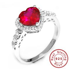 3ct Pigeon Blood Red Gem Ruby Ring Heart For Women Wedding Romantic 18k Gold Plated Pure Solid 925 Sterling Silver Jewelry