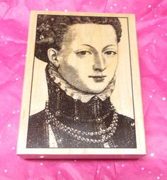 Queen Lady Renaissance art stamps rubber stamp wood Mounted Beautiful woman Card making Paper crafts Mail art by NoodlesNotions on Etsy