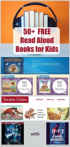 50 FREE Read Aloud Books Online - websites and apps that offer free audio books and stories for toddlers preschoolers big kids tweens and teens! Perfect for reading on the go vacations road trips and tech in the classroom! Audio Books For Kids, Free Kids Books, Toddler Books, Free Audio Books, Read Aloud Books Online, Free Books Online, Online Websites, Read Books, Kids Stories Online