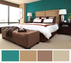 Bedroom colors-brown, turquoise