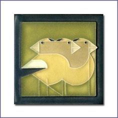 Charley Harper Gregarious Grosbeaks Olive Motawi Tile