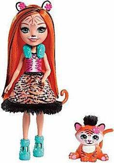 Shop Enchantimals Tanzie Tiger Doll and Tuft Figure Playset, Multi-Colour, One Size. Popular Kids Toys, Toys Uk, Mattel, Tiger Stripes, Animal Ears, Look Alike, Enchanted, Animals, Bright Colors
