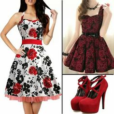 Both so gorgeous but I would wear the white with the red and black flowers.
