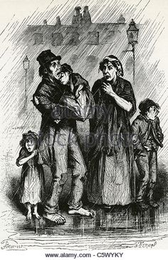 POOR FAMILY ARRIVE in Liverpool in 1840s from where they plan to emmigrate to America as shown in a contemporary - Stock Image