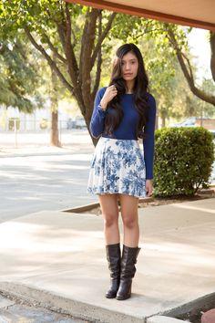 Stylishlyme - Beautiful Blue Floral Skirt