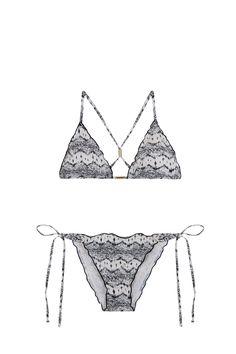 @womensecret printed triangular bikini top with frills