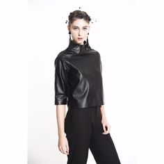 COLE COOL Women's Black Faux Leather Top #COLECOOL #CropTop #Career