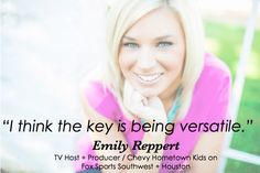 Emily Reppert: TV Host + Producer / Chevy Hometown Kids on Fox Sports Southwest + Houston