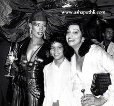 Grace Jones and her son, Paulo Goudewith Asha Puthli.