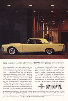 Ford Lincoln Continental Vintage Ad - 1960's # 214