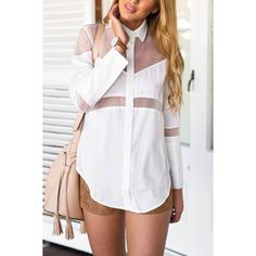 Yoins Yoins Mesh Asymmetrical Buttoned Shirt ($15) ❤ liked on Polyvore featuring tops, shirts & tops, white, sheer top, white shirt, longsleeve shirt, extra long sleeve shirts and transparent shirt