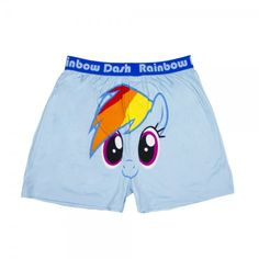 9a918c2e0a97 Light blue boxers shorts with on it the face of Rainbow Dash the colorful  pony from the My Little Pony stories. This adult underwear is fun for  anyone.