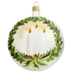 one+stroke+painting+on+tree+ornaments | European Frost Candles Ornament