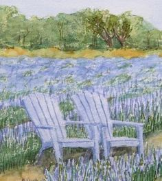 Blanco, Texas Lavender Field with Chairs No. 3 by Nan Henke watercolor painting 11x14 Original via Etsy
