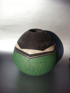 Raku Pottery Raku Fired Green White Crackle Glazed by HonestWear