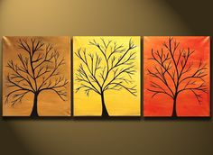 """Canvas Paintings Abstract Modern Tree Art Painting 48x20 Original Modern Contemporary Art on Canvas by Orit Baron """"Trees of Fame"""" ON SALsE"""