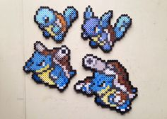 Squirtle | Wartortle | Blastoise | Mega Blastoise | Pokemon perler beads by MIZGVUSdesigns