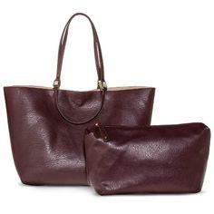 a5c2de689e Women s Reversible Tote Handbag with Accessory Bag - Purple Taupe Purple  Bags