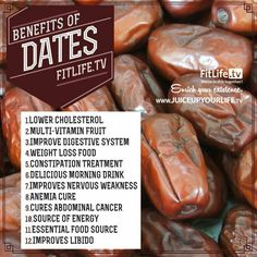 Benefits of dates.Muslims open their fasts with dates due to their many health benefits. Dates Benefits, Health Benefits, Healthy Tips, Healthy Eating, Healthy Recipes, Healthy Facts, Healthy Sugar, Healthy Desserts, Easy Recipes