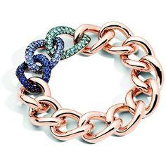 Pomellato Tango Bracelet in 18K Rose Gold with Aquamarine, Tanzanite and Blue Sapphire set in Burnis