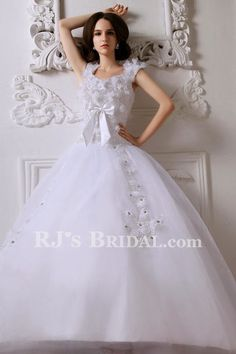 Satin Straps Sweep Train Ball Gown Wedding Dress with Embroidered and Applique