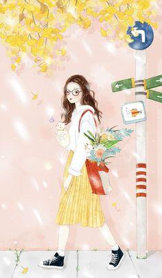 Cute Kawaii Girl, Cute Cartoon Girl, Kawaii Anime Girl, Anime Art Girl, Illustration Girl, Watercolor Illustration, Cute Wallpaper Backgrounds, Cute Wallpapers, Bff Drawings