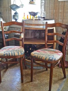 Ladder Back Chairs with Grain Sack Seats