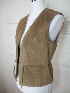 French Vintage Tan Suede Vest Women's, Light Brown Suede Leather Waistcoat, Belted, European Vintage Festival Vest: Size 6 US, Size 10 UK by YouLookAmazing on Etsy