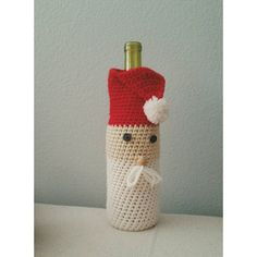 PDF PATTERN Crochet Santa Wine Bag Holiday Party Gift by LanadeAna