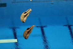 Men's Synchronized Diving  Competitors make their move in the men's synchronized 3-m-springboard diving event at the Aquatics Center at the London 2012 Olympic Games on Aug. 1, 2012.