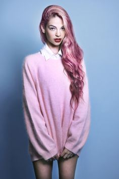 mermaid hair ♡ pink on pink Pastel Hair, Purple Hair, Pastel Pink, Turquoise Hair, Violet Hair, Bright Hair, Pelo Multicolor, Color Fantasia, Coloured Hair